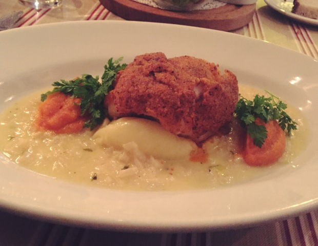 The Coley with Butternut Squash pureé & Mashed Potato.
